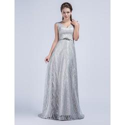 Formal Evening Dress Silver Sheath Column V Neck Sweep Brush Train Tulle