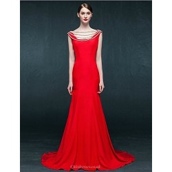 Formal Evening Dress Ruby Trumpet Mermaid Scoop Sweep Brush Train Satin