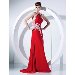 Prom Formal Evening Dress Ruby Plus Sizes Petite A Line Princess Halter Sweep Brush Train Chiffon