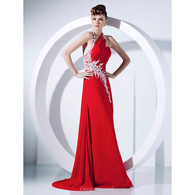 262a523dea740 ... Halter Sweep/Brush Train Chiffon · Prom / Formal Evening Dress - Ruby  Plus Sizes / Petite A-line / Princess