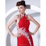 Prom / Formal Evening Dress - Ruby Plus Sizes / Petite A-line / Princess Halter Sweep/Brush Train Chiffon Special Occasion Dresses