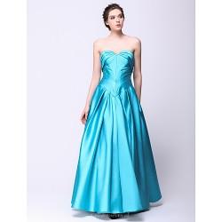 Formal Evening Dress - Sky Blue A-line Sweetheart Floor-length Satin