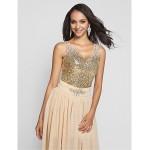 Formal Evening / Prom / Military Ball Dress - Champagne Plus Sizes / Petite Sheath/Column V-neck / Straps Short/Mini / Floor-length Special Occasion Dresses