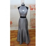 Formal Evening Dress - Silver Petite Trumpet/Mermaid High Neck Floor-length Satin Special Occasion Dresses