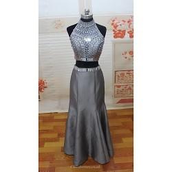 Formal Evening Dress - Silver Petite Trumpet/Mermaid High Neck Floor-length Satin