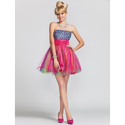 A-line/Princess Strapless Short/Mini Satin And Tulle Cocktail/Prom Dress With Beading