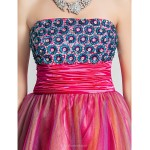 A-line/Princess Strapless Short/Mini Satin And Tulle Cocktail/Prom Dress With Beading Special Occasion Dresses
