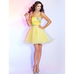 Cocktail Party / Prom / Homecoming / Sweet 16 Dress - Daffodil Plus Sizes / Petite Ball Gown / A-line / Princess Strapless Short/Mini