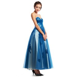 Formal Evening Dress Ink Blue A Line Sweetheart Ankle Length Tulle