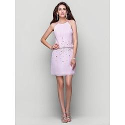 Cocktail Party Homecoming Dress Blushing Pink Plus Sizes Petite A Line Princess High Neck Short Mini Chiffon
