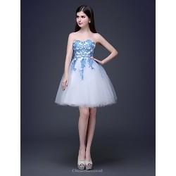 Cocktail Party Dress Multi Color Plus Sizes Petite A Line Princess Bateau Strapless Knee Length Lace Tulle