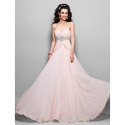 Prom / Military Ball / Formal Evening Dress - Pearl Pink Plus Sizes / Petite Sheath/Column Strapless Sweep/Brush Train Chiffon