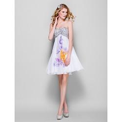 Dress - Print Plus Sizes / Petite A-line Sweetheart Short/Mini Chiffon / Sequined