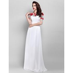Formal Evening / Prom / Military Ball Dress - Ivory Plus Sizes / Petite Sheath/Column Jewel Floor-length Chiffon