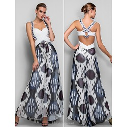 Formal Evening / Military Ball Dress - Print Plus Sizes / Petite A-line / Princess Straps Floor-length Chiffon