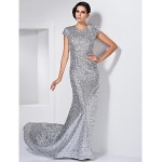 Formal Evening Dress - Silver Plus Sizes / Petite Sheath/Column Jewel Sweep/Brush Train Sequined Special Occasion Dresses