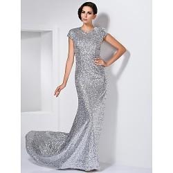Formal Evening Dress Silver Plus Sizes Petite Sheath Column Jewel Sweep Brush Train Sequined