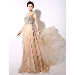 Champagne A Line One Shoulder Floor Length Chiffon Formal Evening Dress