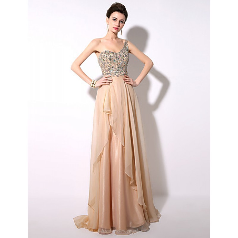 25b8e79c4276 ... Champagne A-line One Shoulder Floor-length Chiffon Formal Evening Dress  Special Occasion Dresses ...