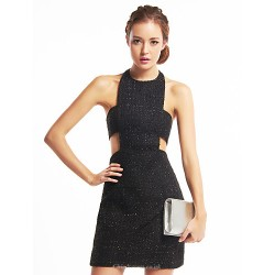 Cocktail Party Dress - Black Sheath/Column Halter Short/Mini Sequined / Polyester