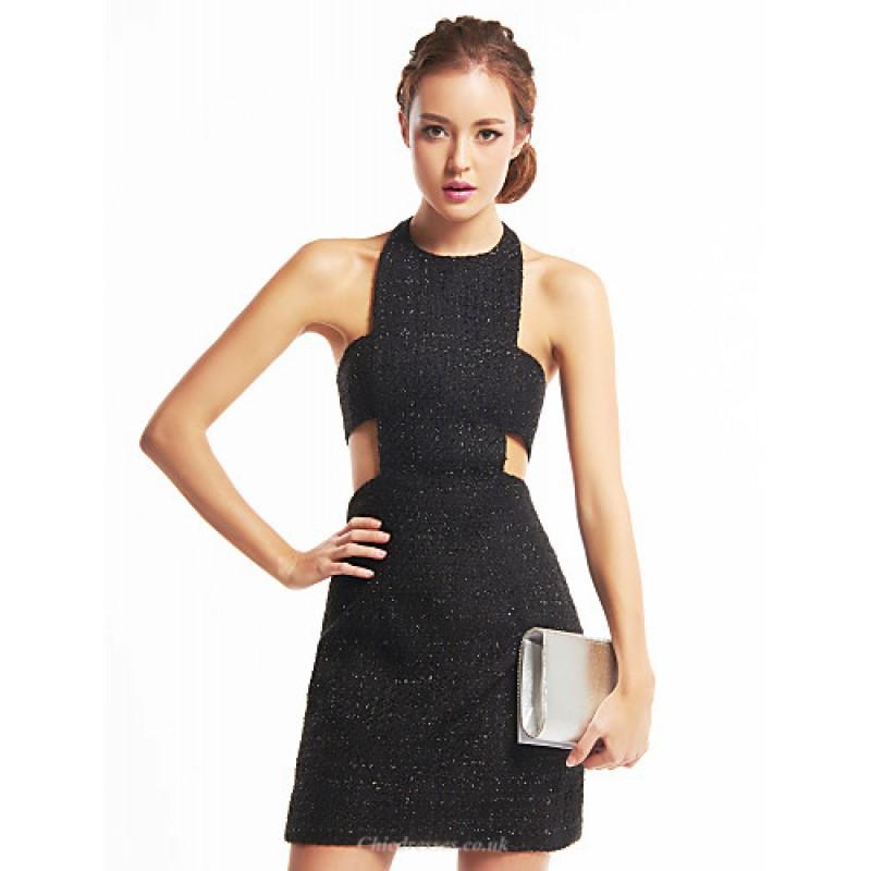 f634c0d30e94 TS Couture Cocktail Party Dress - Black Sheath/Column Halter Short/Mini  Sequined /