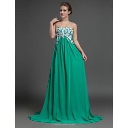 Formal Evening Dress - Sage Sheath/Column Sweetheart Sweep/Brush Train Chiffon