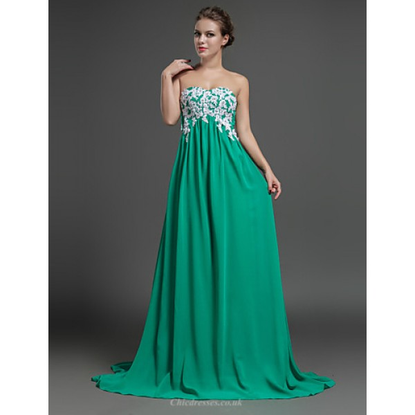 Formal Evening Dress - Sage Sheath/Column Sweetheart Sweep/Brush Train Chiffon Special Occasion Dresses
