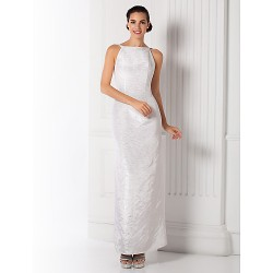 Sheath Column Bateau Ankle Length Satin Evening Dress (1379188)
