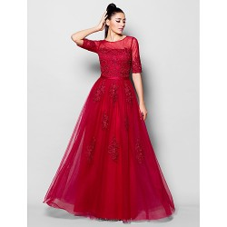Formal Evening Dress - Burgundy Plus Sizes / Petite A-line Jewel Floor-length Tulle
