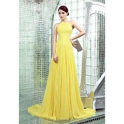 Formal Evening Dress Daffodil Plus Sizes Petite Sheath Column High Neck Chapel Train Chiffon