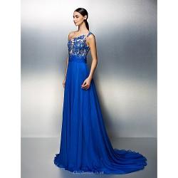 Formal Evening Dress Royal Blue Plus Sizes Petite A Line One Shoulder Court Train Chiffon