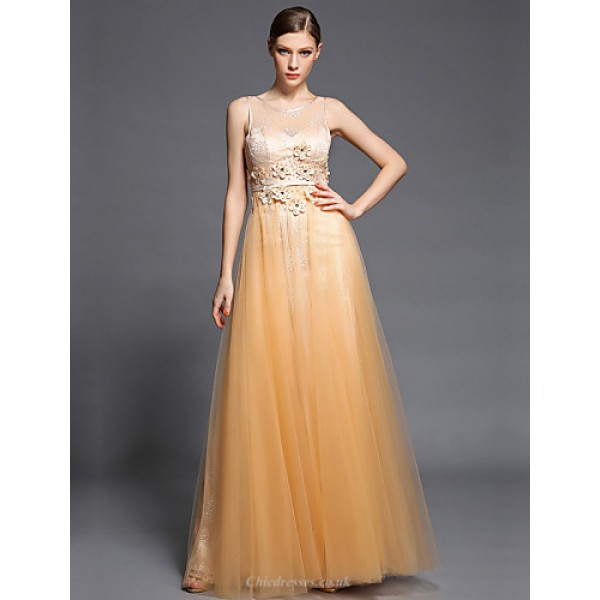 Formal Evening Dress - Champagne A-line Jewel Floor-length Lace / Tulle / Charmeuse Special Occasion Dresses