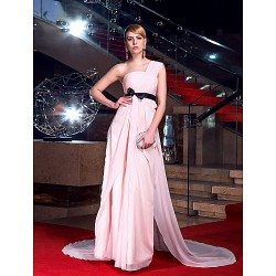 Formal Evening Dress Blushing Pink Plus Sizes Petite A Line One Shoulder Chapel Train Chiffon