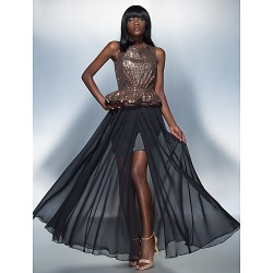 Formal Evening Dress Black Plus Sizes Petite Sheath Column Scoop Floor Length Chiffon Sequined