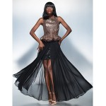 Formal Evening Dress - Black Plus Sizes / Petite Sheath/Column Scoop Floor-length Chiffon / Sequined Special Occasion Dresses