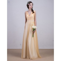 Evening dress floor length golden yellow A line princess V neck tulle with sash and lace bridal formal dress