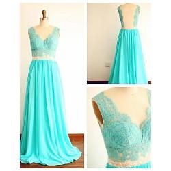 Formal Evening Dress - Jade A-line V-neck Sweep/Brush Train Chiffon / Lace