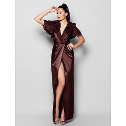 Formal Evening Dress - Chocolate Plus Sizes / Petite Sheath/Column V-neck Floor-length Stretch Satin