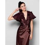 TS Couture Formal Evening Dress - Chocolate Plus Sizes / Petite Sheath/Column V-neck Floor-length Stretch Satin Special Occasion Dresses