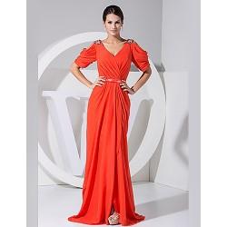 Formal Evening Dress - Ruby Plus Sizes A-line V-neck Floor-length Chiffon