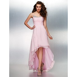 Prom / Formal Evening Dress - Blushing Pink Plus Sizes / Petite A-line Spaghetti Straps Asymmetrical Georgette