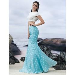 Formal Evening Dress - Multi-color Trumpet/Mermaid Jewel Floor-length Knit