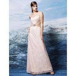 Formal Evening Dress - Pearl Pink Plus Sizes / Petite Sheath/Column Scoop Floor-length Lace
