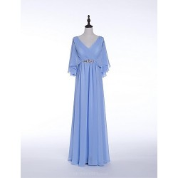 Formal Evening Dress Sky Blue Sheath Column V Neck Floor Length Chiffon