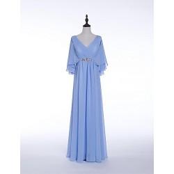 Formal Evening Dress Sky Blue Sheath Column V Neck Floor Length Chiffon