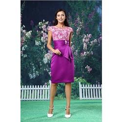 Cocktail Party Dress - Multi-color Sheath/Column Jewel Knee-length Lace / Organza / Satin