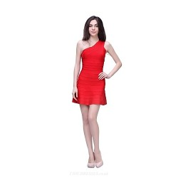 Cocktail Party Dress - Ruby Petite Sheath/Column One Shoulder Short/Mini Nylon Taffeta
