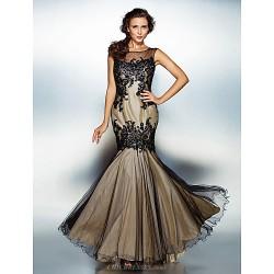 Dress - Multi-color Plus Sizes Trumpet/Mermaid Jewel Floor-length Tulle