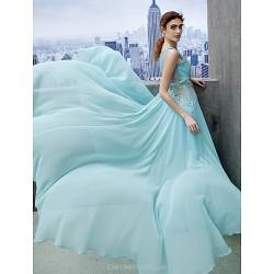 Formal Evening Dress Sky Blue A Line Scoop Court Train Chiffon