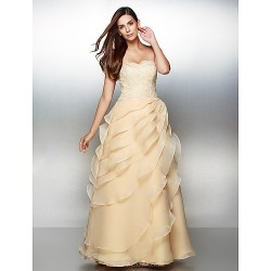 Formal Evening Dress Champagne A Line Sweetheart Ankle Length Lace Organza